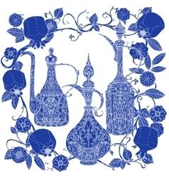 Oriental patterned jugs blue vector image