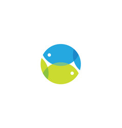 overlapping for fish logo concept vector image