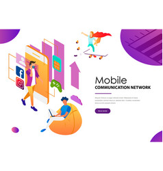 people using modern technologies of mobile vector image