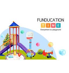Playground frame design with slide balloon vector