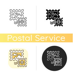 Postage stamps chalk white icon vector