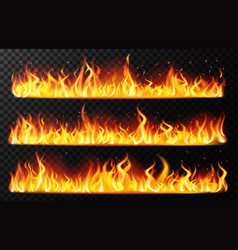 realistic flame borders burning horizontal fire vector image
