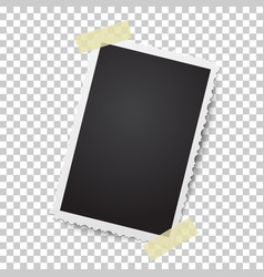 realistic photo frame with retro figured edges vector image