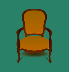 retro brown armchair on green background vector image