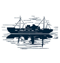 sea ship silhouette with reflection vector image