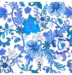 Seamless floral background Colorful blue isolated vector