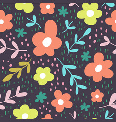 Seamless pattern with flowers scandinavian style vector