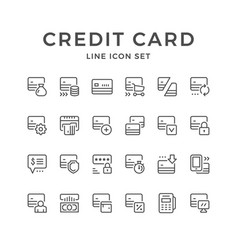 set line icons of credit card vector image