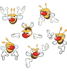 Set of cute cartoon yellow bees vector