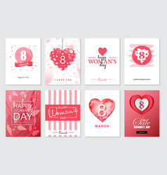 Set of happy womans day artistic hand drawn vector