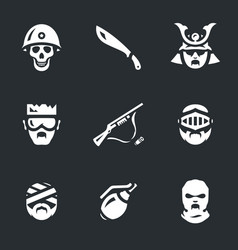 Set of horror zombie icons vector