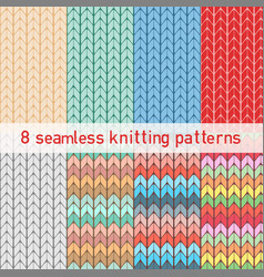set with color seamless knitted patterns vector image