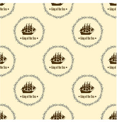 Sign of king of the sea seamless pattern vector
