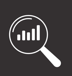 statistics icon magnifying glass vector image