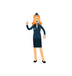 stewardess in blue uniform standing with open vector image