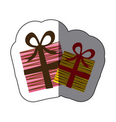 Sticker colorful set collection striped gift box vector
