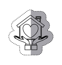 Sticker contour of hands holding a house with vector