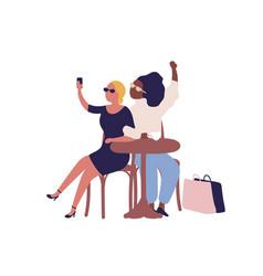 Stylish cartoon diverse woman posing taking selfie vector