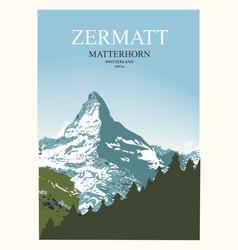 Stylish travel poster view matterhorn near vector