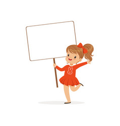Sweet girl carrying blank signboard kid standing vector