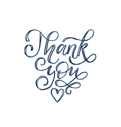 thank you hand lettering calligraphic vector image
