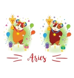 The signs of the zodiac Guinea pig Aries vector