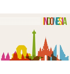 Travel Indonesia destination landmarks skyline vector image