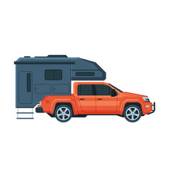 travel trailer and car mobile home for summer vector image