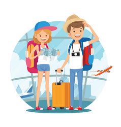 Traveling couple of young people vector