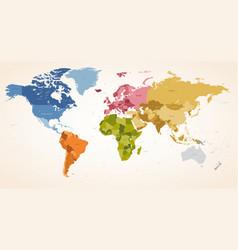 vintage colors political world map vector image