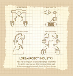 vintage poster of robotic armed machines vector image