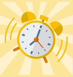 wake up alarm clock flat design vector image