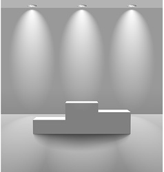 White lightened room with pedestal vector