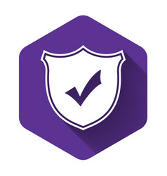 white shield with check mark icon isolated with vector image