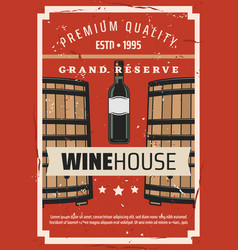 Wine house winemaking bottle and barrel vector