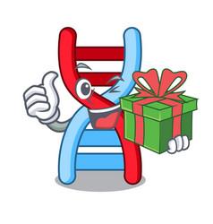 With gift dna molecule mascot cartoon vector