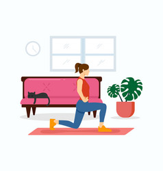 woman-home-fitness vector image
