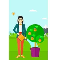 Woman watering tree with light bulbs vector image