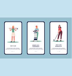 women golf club or tournament - app design flat vector image