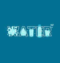 word water in line style full of water on back vector image
