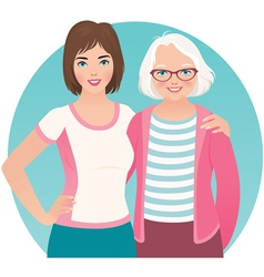 Adult daughter and elderly mother vector image vector image