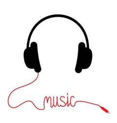 Black headphones with red cord word Music vector image vector image