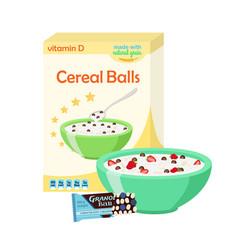 Breakfast set - milk cereal granola berries vector