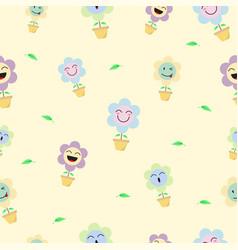 Cute pastel flower emoji seamless pattern vector