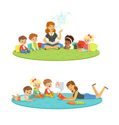 elementary students and teacher children vector image