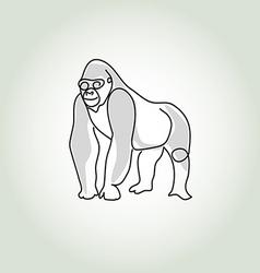 Gorilla in minimal line style vector