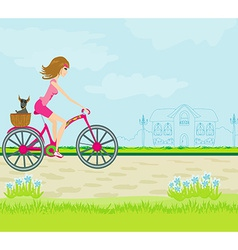 Happy Driving Bike with Cute Girl vector image vector image