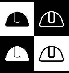 hardhat sign black and white icons and vector image vector image