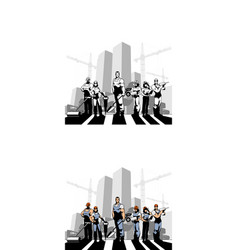 team of construction workers vector image