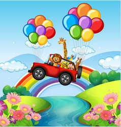 wild animals riding on red jeep over river vector image vector image